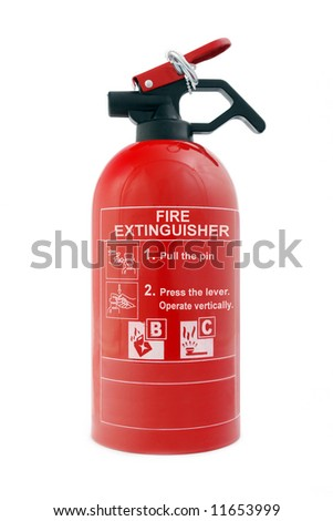 Portable car dry-powder fire extinguisher isolated on white background
