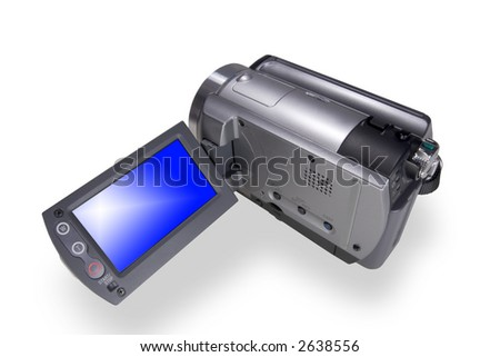 Portable digital video camera isolated over white