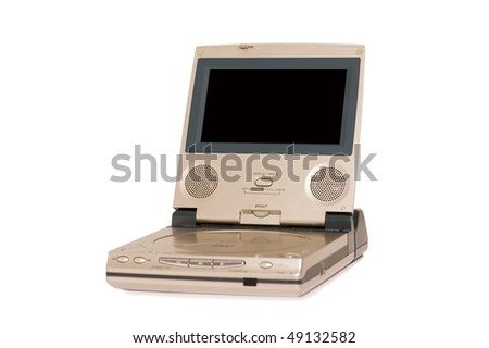 Portable DVD player isolated on the white background
