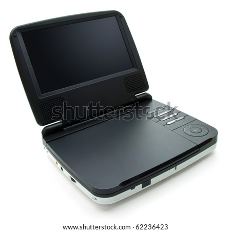 Portable DVD player with small screen and white colored body