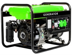 Portable Electric AC Generator - Mobile Gasoline Generators, isolated on white. Industrial and home immovable power generator on a white background.