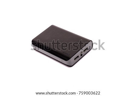 Portable external battery isolated on a white background . #759003622