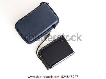 Portable external hard drive and carrying case. White background. #624845927
