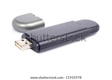 Portable flash usb pen drive memory with soft shadow on white background. Shallow depth of field