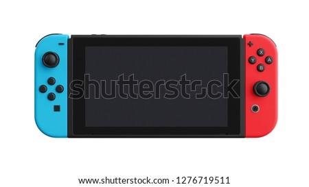 Portable game console mockup isolated on white background. 3D illustration.