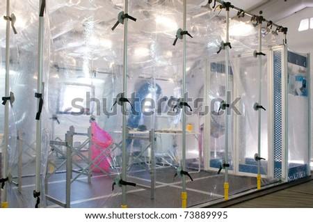 Portable hospital for ebola, nuclear or virus alarm