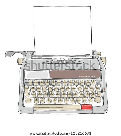 portable manual typewriter  and paper