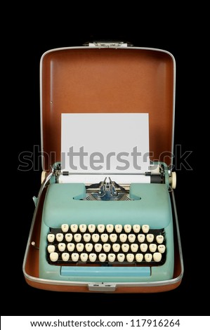 portable manual typewriter in case; isolated on black