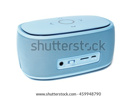 Portable mini blue tooth loudspeaker isolated on a white background. #459948790