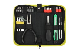 portable or pocket toolkit with set locksmith tools for home, pliers, hexagon keys, screwdriver, top view closeup, small equipment case isolated on white background, concept of gift for father's day