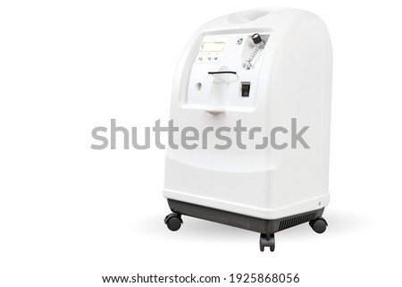 portable oxygen concentrator or oxygen generator is designed for oxygen therapy in medical institutions and individual use at home isolated on white no people Foto d'archivio ©