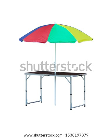 Portable picnic table with sunshade isolated on white #1538197379