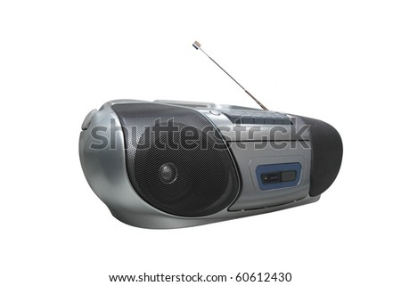 Portable radio cassette recorder with CD/MP3 player under the white background