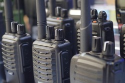 Portable radio transceiver sets for professionals or personal usage. Portable walkie talkie. Communication icon.