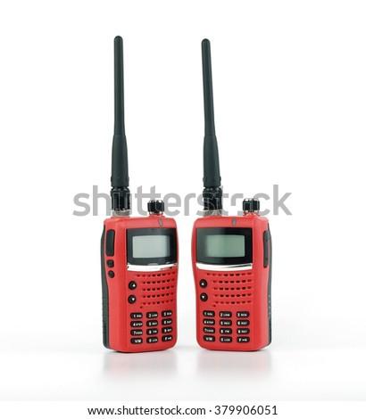 Portable radio transceiver sets on white background Stock photo ©