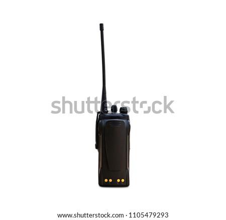 portable radios Walkie-talkie isolated on white transmitter, portable set, portable radio set, portable radio transmitter, walkie talkie, #1105479293
