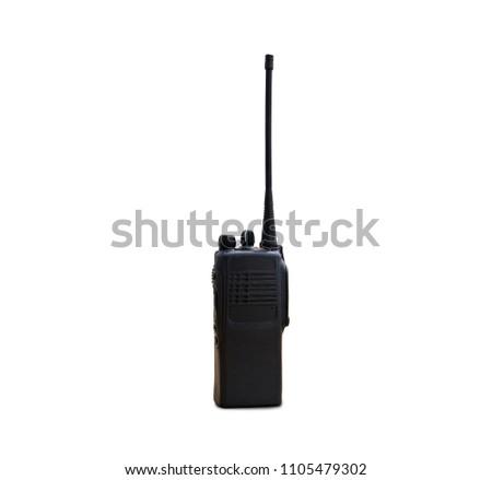 portable radios Walkie-talkie isolated on white transmitter, radio, portable radio, set, portable radio set, portable radio transmitter, walkie talkie, #1105479302