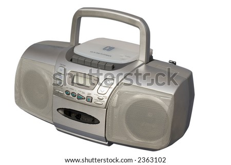 Portable Stereo CD Radio Cassette Recorder; isolated, clipping path included