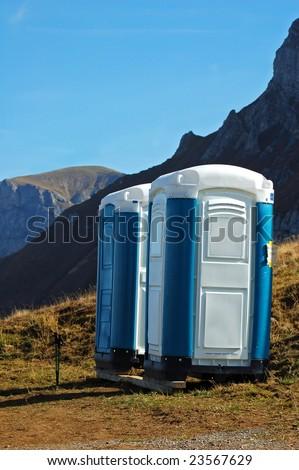 Portable toilet over 7000 feet on Axalp in Switzerland