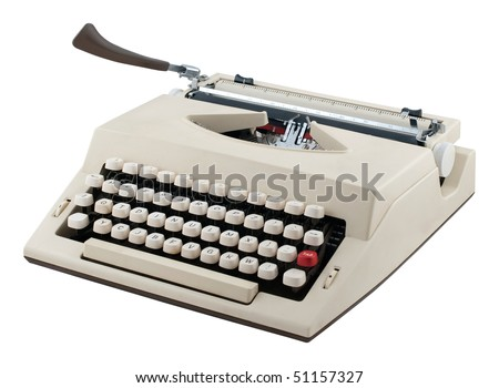 Portable typewriter isolated on white background.