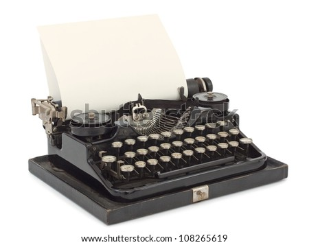 Portable Typewriter with sheet of paper isolated on white background - stock photo