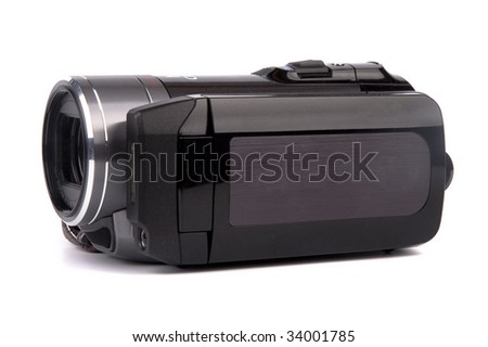 Portable video camera isolated on white #34001785