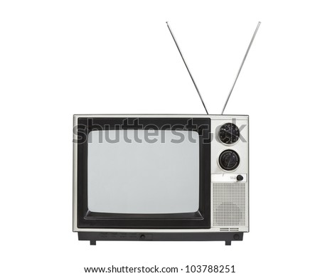 Portable vintage television with antennas up.  Isolated on white.