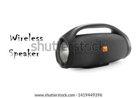 Portable Wireless Speaker Isolated. Black Powerful Stereo Sound System with Splashproof Fabric Design and Control Buttons Side View. Noise and Echo Cancelling Speakerphone. Cell Phone Accessories