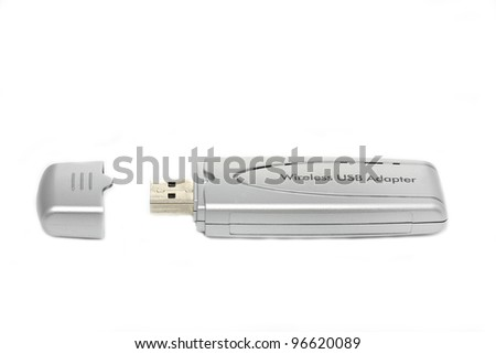 Portable wireless usb adapter on white background