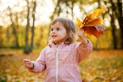 Portait of a little girl with maple leaves in her hands, in the autumn park