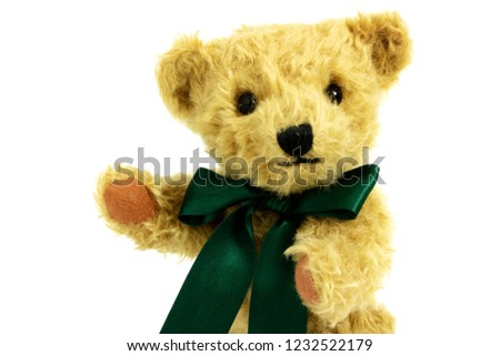 Portait of cute teddy bear with raised paw, toy is made from golden mohair complemented with pure wool