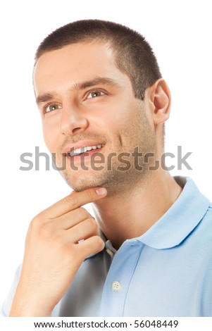 Portait of thinking man, looking up, smiling, isolated on white