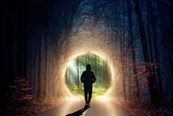 portal in the forest with humans