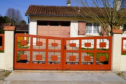 portal old metallic red steel vintage suburb metal aluminum house gate access car