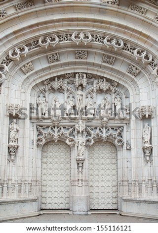 Portal on the facade of the Brou Monastery