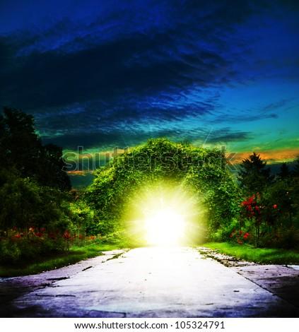 Portal to Eden. Abstract spiritual backgrounds - stock photo