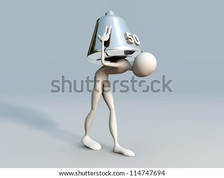 porter with metal weight on his shoulders isolated on white background