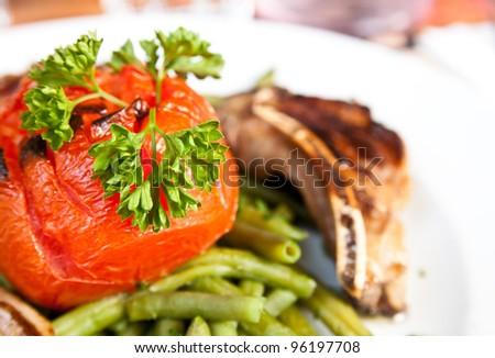 porterhouse juicy steak with fresh green beans