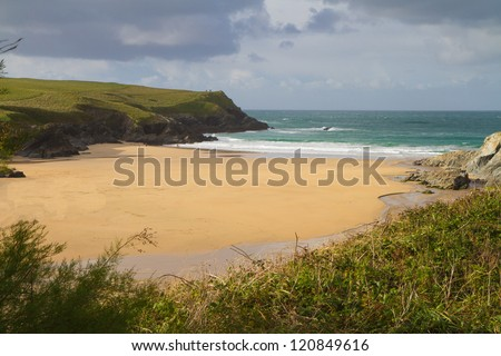 Porth Joke beach next to Crantock bay and beach Cornwall England United Kingdom near Newquay and on the South West Coastal Path - stock photo
