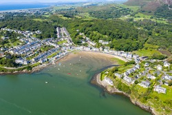 Porthmadog and surrounding beaches, marina with lots of yachts and boats at high tide. North Wales