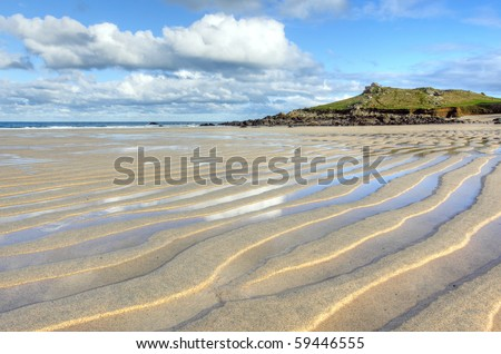 Porthmeor beach sand ripples, St. Ives Cornwall UK.