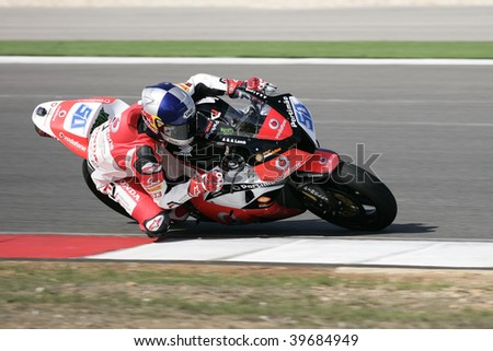PORTIMAO, PORTUGAL - OCTOBER 25: Laverty E., 1st place winner of the race W Supersport, Superbikes, Algarve on October 25, 2009 in Portimao, Portugal.