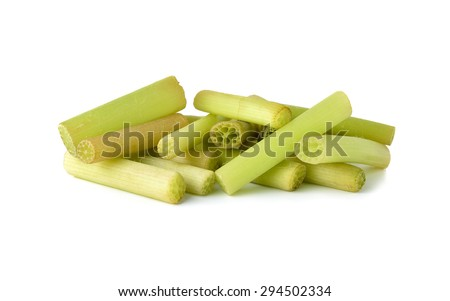 portion cut lotus stem for cooking on white background