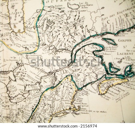 Portion of a French map of Canada and New England from the middle 19th century.