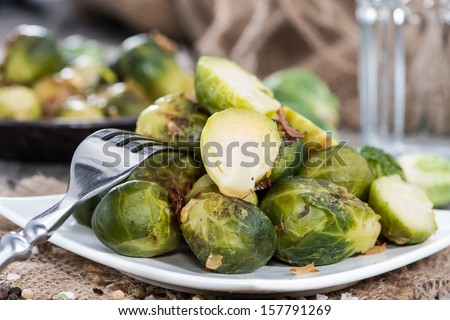 Portion of Brussel Sprouts with Ham and onions