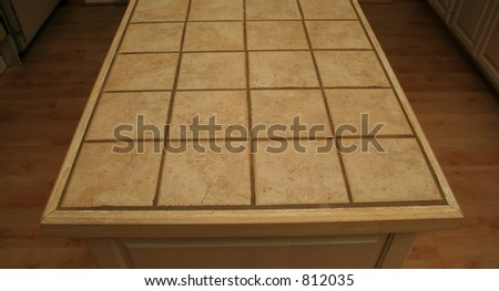 Portion of ceramic tile countertop