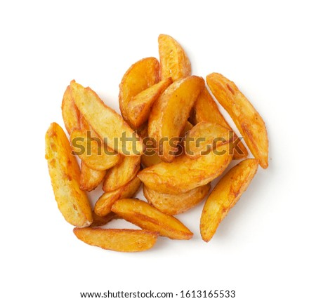 Portion of fresh baked potato wedges, isolated on a white background. Top view. Stock photo ©