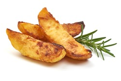 Portion of fresh baked Potato Wedges with herbs, isolated on a white background. Close-up.