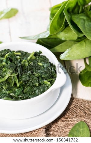 Portion of fresh cooked Spinach