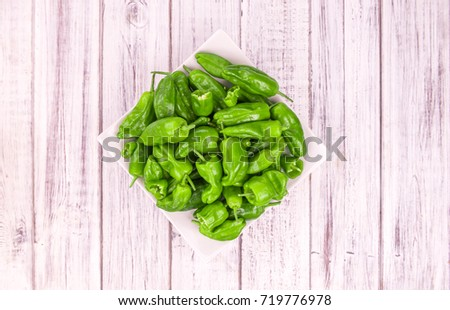 Shutterstock Portion of fresh Raw Pimientos  close-up shot; selective focus
